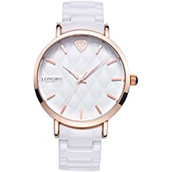 LONGBO Womens Luxury Ceramic Band Business Bangle Watch Rose Gold Case Bracelet Wrist Dress Watches Fashion Waterproof Lady Analog Quartz Luminous Hand Big Face Watches