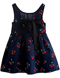 Niñas Cherry Impreso Vestidos - Moda Fiesta Princesa Vestidos Patrón Cereza Elegante Sin Mangas Cuello Redondo
