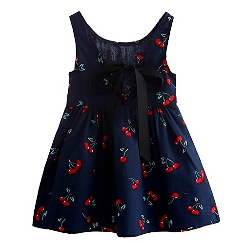 Mädchen Baby Kinder Elegant Prinzessin Partykleid mit Kirsche Muster Mode Ärmellos Runder Kragen Frühling Kleid Kleidung (Tanzsport Kostüm Muster)