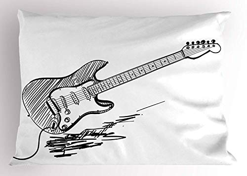 HFYZT Guitar Pillow Sham, Hand Drawn Style Electric Guitar on White Backdrop Rock Music Accords Sketch Art, Decorative Standard Queen Size Printed Kissenbezug Pillowcase, 18 X 18 inches, Black White