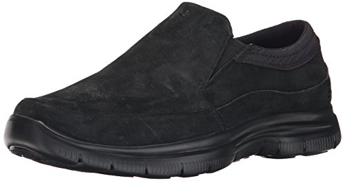 SKECHERS 64492/BBK hinton-ORTEGO black mocassino uomo nero memory foam gel-infused, Nero, 47.5