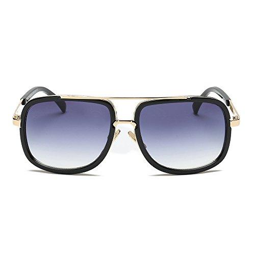 Clacce Sonnenbrillen, Große Flug UV400 Herren Retro Sonnenbrille Square Damen Verspiegelt Pilot Schrittweise Linsen Braun Schwarz Luxurious