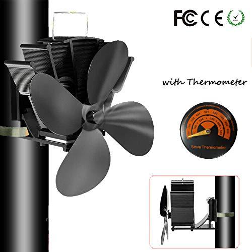 4 lames Tuyau de fumée Ventilateur de poêle Appareil de chauffage alimenté fixe sur le tuyau de cheminée en bois/poêle à...