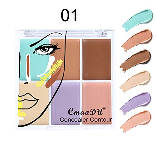 Professionnel Palette Correcteur, KISSION 6 Couleurs Palette Correcteur/Contour de Crème Fixe Pour Visage/Yyeux/Lèvre
