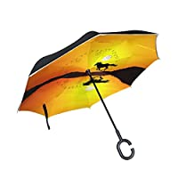 Eslifey Horse Running Sunset Landscape Straight Self-standing Reserve Umbrella Double Layer Inverted Folding Umbrella Waterproof Umbrellas for Car