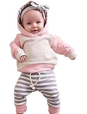 Baby Kleidung,Hankyky 3er Set Neugeborene Mädchen Jungen Lange Hülse Kapuzenpullover Tops Streifen Hose Stirnband...