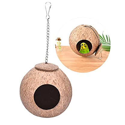 CCCYMM 1 Pcs Hand Made Natural Coconut Shell Creative Bird Nest House Hut Cage Feeder Pet Parrot Parakeet Toy 1