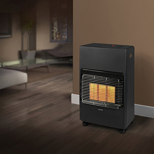Warmlite WL39001 Portable Gas Heater on Wheels with Anti-Tilt Device, Black