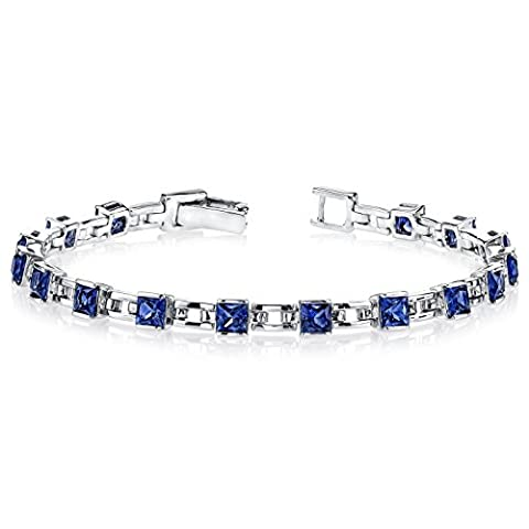 Revoni Charming Style: Princess Cut Blue Sapphire Gemstone Bracelet in Sterling Silver