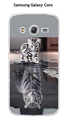 Coque Samsung Galaxy Core 4G LTE SM 386F design Chat Tigre Blanc