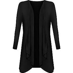 WearAll - Grandes Tailles Longue Waterfall Cardigan Haut - Noir - 52-54