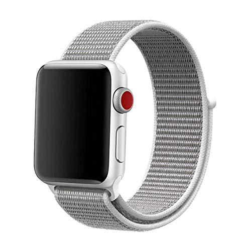 Schlagmo Armband kompatibel mit Apple Watch | Sport Loop Armband | Smartwatch Armbänder mit Klettverschluss kompatibel mit Apple Watch Series 1/2/3/4 (Weiß 38/40mm) -