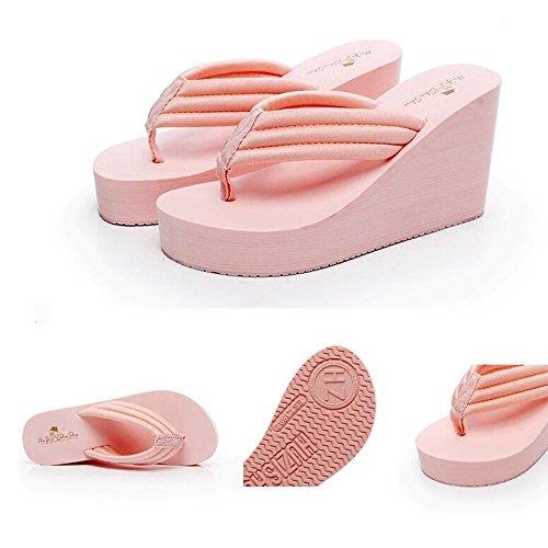 Estate Sandali Sandali della spiaggia di modo di flop di vibrazione antiscivolo di estate di estate 9CM degli alti talloni con il nero / dentellare / bianco Colore / formato facoltativo Rosa