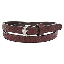 Aditi Wasan genuine leather snake print embossed brown belt