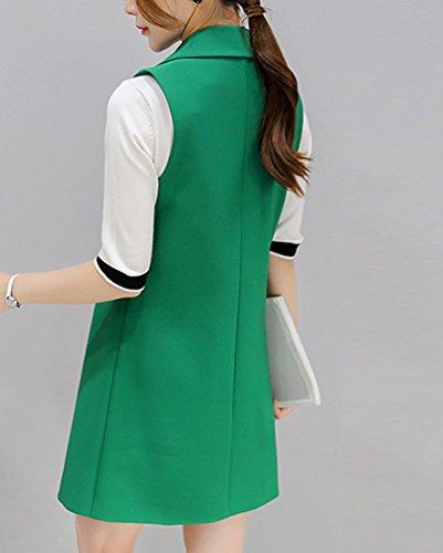 YiLianDa Donne Crepe Gilet Eleganti Senza Maniche Ufficio Lunghe Blazer Cardigan Verde