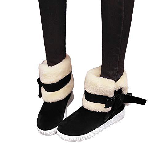 Bottes de Neige Femme, Manadlian Bottines Plates Fourrées Boots Hiver Femme Cuir Chaussures Courtes Plates Doublure Chaude Bottines