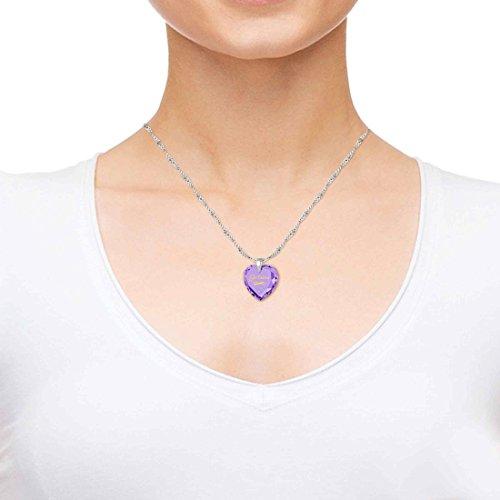 Pendentif Coeur - Bijoux Romantique en Argent fin avec Je t'aime et le symbole de l'infini inscrits en Or 24ct sur un Zircon Cubique en Forme de Coeur, 45cm - Bijoux Nano Violet Clair