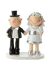 Idea Regalo - Hobby-Fun COPPIA DI SPOSI NOZZE D' ARGENTO 25anni decorazione torte, 5,5cm matrimonio