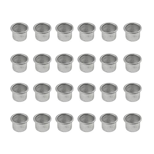 BODA Creative Kerzenhalter Kerzeneinsätze aus Metall für Tafelkerzen, 24 Stück