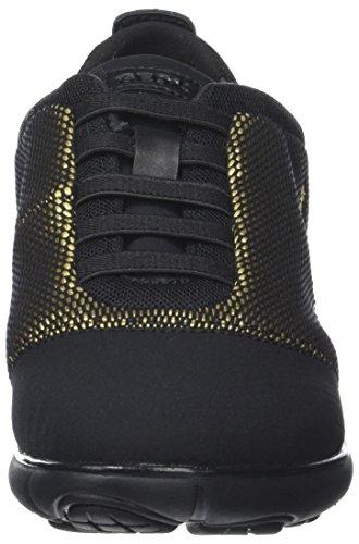 Geox Damen D Nebula C Sneaker Schwarz (Gold/Black)