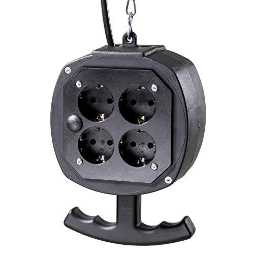 as - Schwabe Hängeverteiler Watzmann - Stromverteiler mit 3 m Anschlusskabel & Gliederkette - 2x4 Schutzkontaktsteckdosen und Schutzkontaktstecker 230 V / 16 A - IP20 - Schwarz I 60971 -