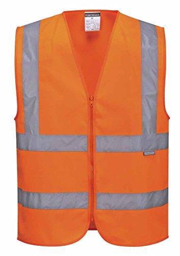 SUW–Hi-Vis Sicherheit Workwear mit Reißverschluss Band & Brace Vest, Medium, Orange, 1 (Greifer Reißverschluss)