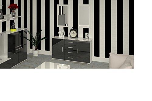 Labi Meubles KR2 Commode Buffet Cosmo Carreaux 130 cm corps : blanc brillant/façades : Noir brillant