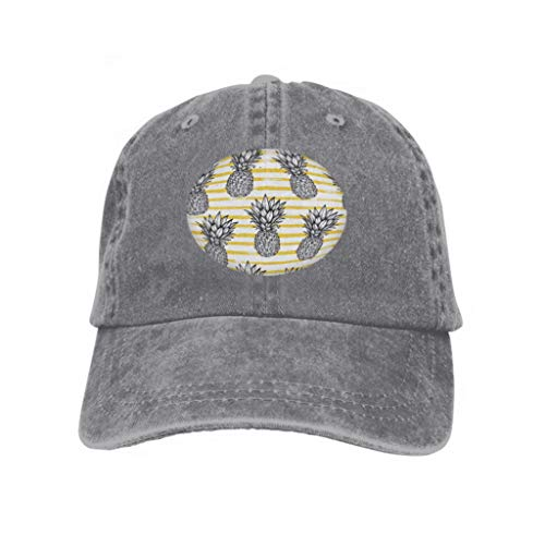 Unisex Baseball Cap Snapback Adult Cowboy Hat Hip Hop Trucker Hat Hand Drawn Pineapple Striped Back Exotic Tropical Fruit sket Gray - Striped Mesh Back Cap