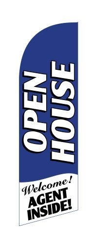 Open House Agent Inside (Blue) Windless Feather Flag Banner - Complete Kit with 8' Pole Set and Ground Mount Stake by Bayfield Trading Post