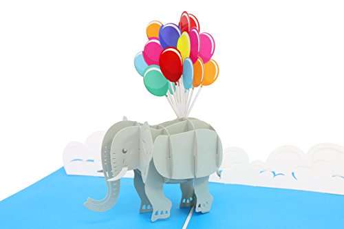 PopLife Cards Elefant & Ballons Pop-up-Karte - alle Gelegenheiten (Valentines Kinder Karten)