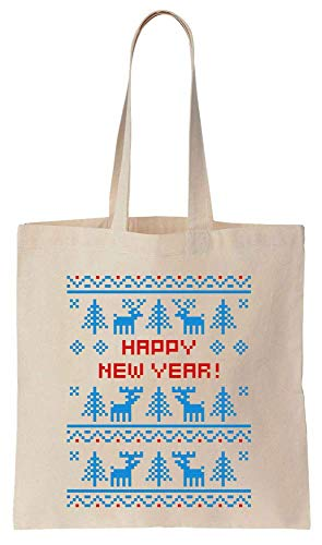 Knitted Christmas Sweater Style Happy New Year With Ornaments Christmas Design Cotton Canvas Tote Bag