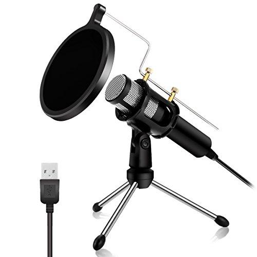 NASUM Microphone à Condensateur Professionnel Prise USB - Plug & Play Microphones Home Studio,...