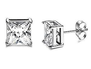 Via Mazzini Square Princess Cut Silver Basket Stud Earrings For Men Enhanced With Swarovski Elements (5mm)