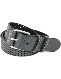 hochwertiger Ledergürtel mit Lochperforation und Rollschließe, Vollrindleder, 4cm Breite