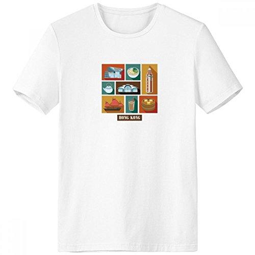 DIYthinker Hong Kong Lokale Lebensmittel und Platz-Crew-Neck Weißes T-Shirt Frühlings-Sommer-Tagless Comfort Sport-T-Shirts Geschenk - Multi - Medium -