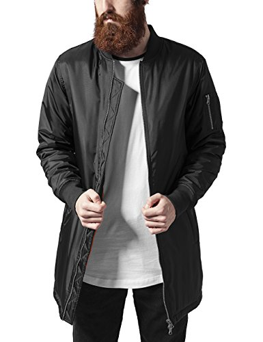 Urban Classics Herren Jacke Long Bomber Jacket, Schwarz (Black 7), Large