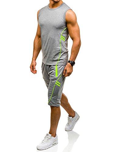 BOLF �?Completo sportivo �?T-Shirt senza maniche �?Pantaloncini �?Training �?Fitness �?Motivo �?Uomo [8H8] Grigio