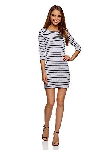 oodji Ultra Damen Baumwoll-Kleid Basic, Grau, DE 38 / EU 40 / M