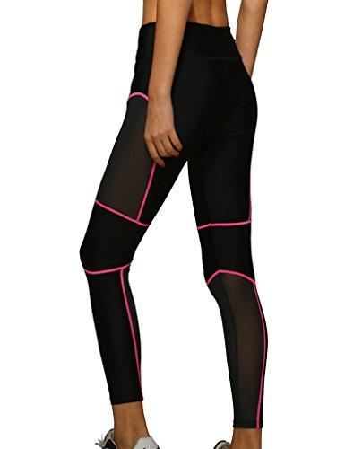 lorata femmes Femme Stitching réseau fil Sport Pantalon de Jogging Yoga Pantalon de Jogging Collants Pantalons Leggings Rouge - Rouge/Noir