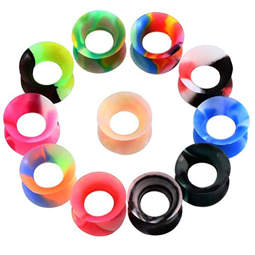 ANLW Tapers Kit Ear Tunnels Kit, Tapers Tunnels Plugs, Gauges Expander Set Ear Stretching, 22PCS Silicone Ear Expansion Puncture Earring,12Mm