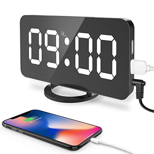 Cynthia 6.5 Pulgadas Grande LED Digital Reloj Despertador con Puerto USB para Cargador de teléfono...