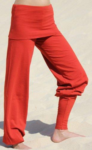 Esparto Sooraj Pantalones de yoga de algodón orgánico, color Sunset-Rot, tamaño extra-small