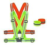 BESYZY 2 * Reflektierende Sicherheitsweste + 2 * Reflektorbänder Set,Einstellbar Sicherheitsweste Unfallweste Hohe Sichtbarkeit Reflexgurt Gürtel für Läufer, Jogger, Spaziergänger, Radfahrer