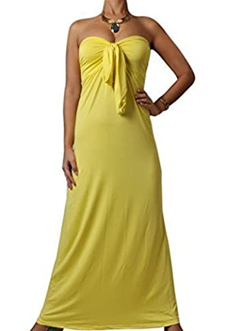 Angela, Ladies Vibrant Bright Bandeau Strapless Knot Maxi Holiday Summer Block Colour Dress, Yellow, M (UK