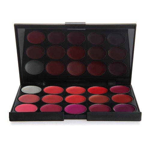 Set Pro Palette Rossetti Lucidalabbra 15 Colori Professionale Makeup Cosmetici