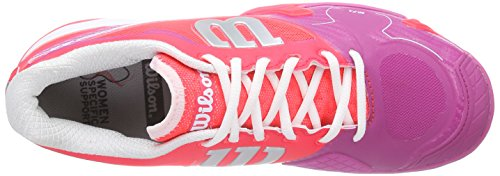 Wilson  RUSH PRO 2.0 Clay Court W NEON RED W 4.5, Chaussures spécial tennis pour femme Multicolore - Mehrfarbig (NEON RED WHITE)