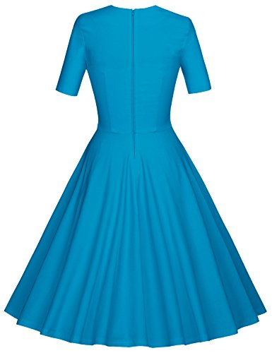 MUXXN Damen 1950er Business oder Cocktailparty Kleid Light Blue