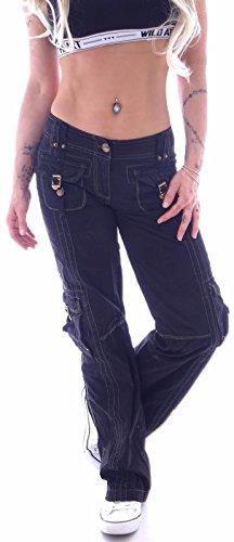 Style-Station Damen Cargohose Cargo Jeans Hose Hüfthose Boyfriend Chino Taschen B055 (L40, Schwarz)