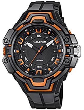 Calypso Unisex Quarzuhr mit schwarzem Zifferblatt Analog-Anzeige und Kunststoff Gurt schwarz k5687/3