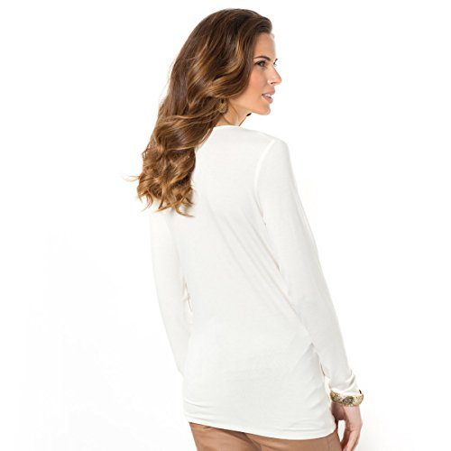 La Redoute Anne Weyburn Donna Tshirt in Morbida Maglia Ecru